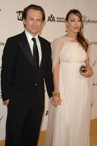 Christian Slater and Tamara Mellon at the 16th Annual Elton John AIDS Foundation Academy Awards viewing party.
