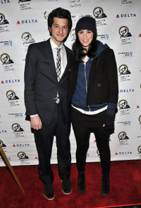 Ben Schwartz and guest at the New York premiere of
