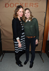 Sarah Paulson and Elizabeth Olsen at the cocktails of