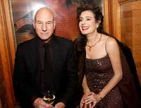Patrick Stewart and actress Sean Young at the after party of