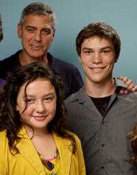 George Clooney, Amara Miller and Nick Krause at the portrait session of