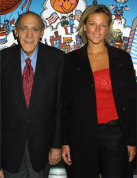 Abe Vigoda and Bridget Hall at the Muscular Dystrophy Association's 2002 Muscle Team gala and auction.