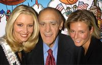 Kandace Krueger, Abe Vigoda, and Bridget Hall at the Muscular Dystrophy Association's 2002 Muscle Team gala and auction.