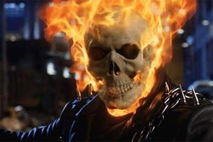 "Nicolas Cage as 'Johnny Blaze' in ""Ghost Rider."""