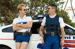 """Lt. Dangle (Thomas Lennon) and Dep. Travis Junior (Robert Ben Garant) take a moment before leaping once more into the breach in """"Reno 911!: Miami."""""""