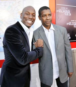 """Tyrese Gibson and Denzel Washington at the California premiere of """"The Taking of Pelham 1 2 3."""""""