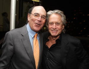 "Director Peter Hyams and Michael Douglas at the after party of the New York premiere of ""Beyond A Reasonable Doubt."""