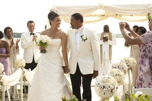 "Angela Bassett, Brian Stokes Mitchell, Paula Patton, Laz Alonso, T.D. Jakes and Loretta Devine in ""Jumping the Broom."""