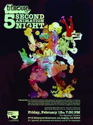 """Poster art for """"Titmouse 5 Second Animation Night."""""""