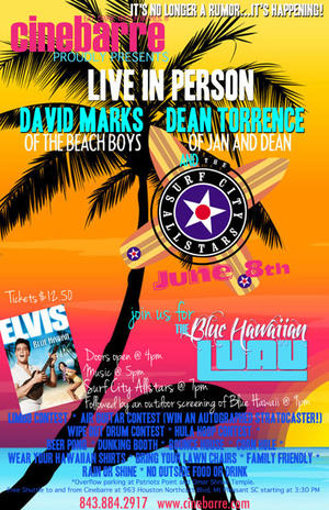 """Poster art for """"Surf City All Stars and Blue Hawaii."""""""