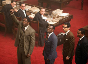 "Idris Elba, Tony Kgoroge, Riaad Moosa and Thapelo Mokoena in ""Mandela: Long Walk to Freedom."""