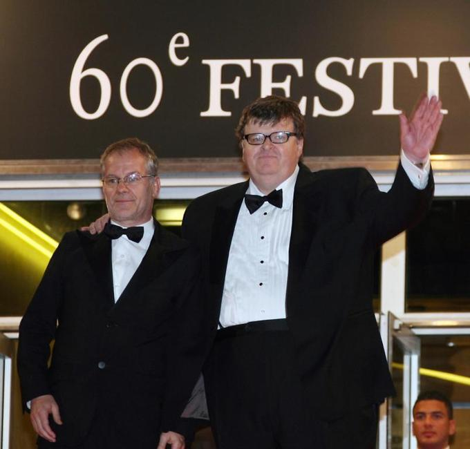 Michael Moore and Thierry Fremaux at the screening of his film