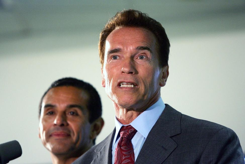 Arnold Schwarzenegger at the Los Angeles Department of Transportation's Automated Traffic Surveillance and Control Center.