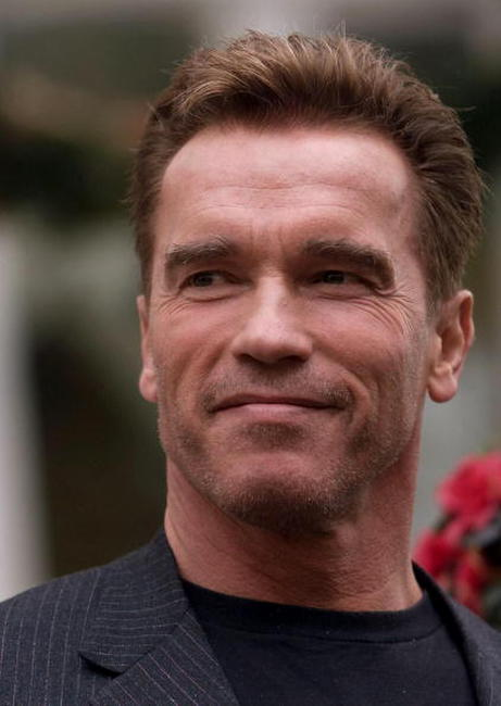 Arnold Schwarzenegger in Madrid during a promotion tour of
