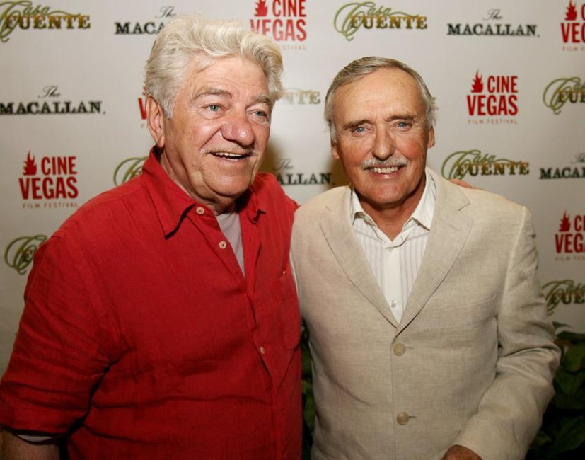 Seymour Cassel and Dennis Hopper at the Casa Fuente cigar party in honor of Dennis Hopper's birthday.