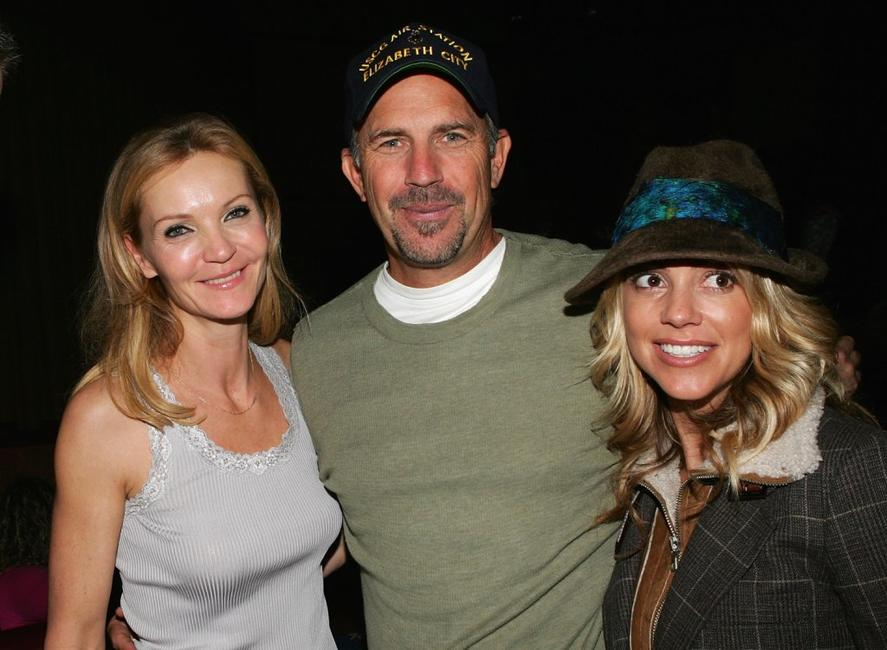 Kevin Costner, his wife Christine Baumgartnerpose and Joan Allen at the Afterglow party during Mohegan Sun 10th Anniversary celebration.