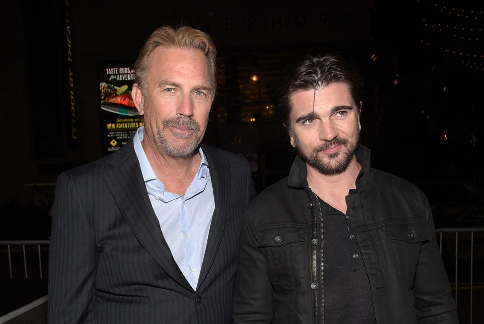 Kevin Costner and Juanes at the California premiere of