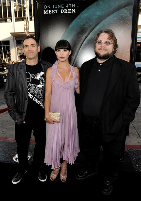 Vincenzo Natali, Delphine Chaneac and Guillermo del Toro at the premiere of