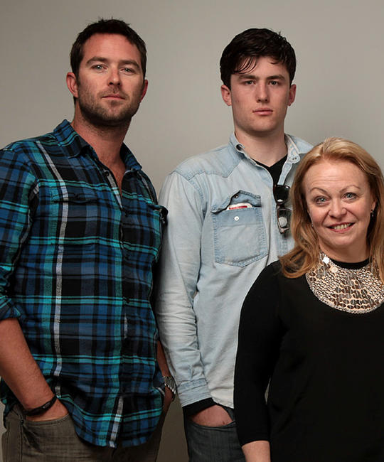 Sullivan Stapleton, James Frecheville and director Jacki Weaver at the 2010 Sundance Film Festival in Utah.