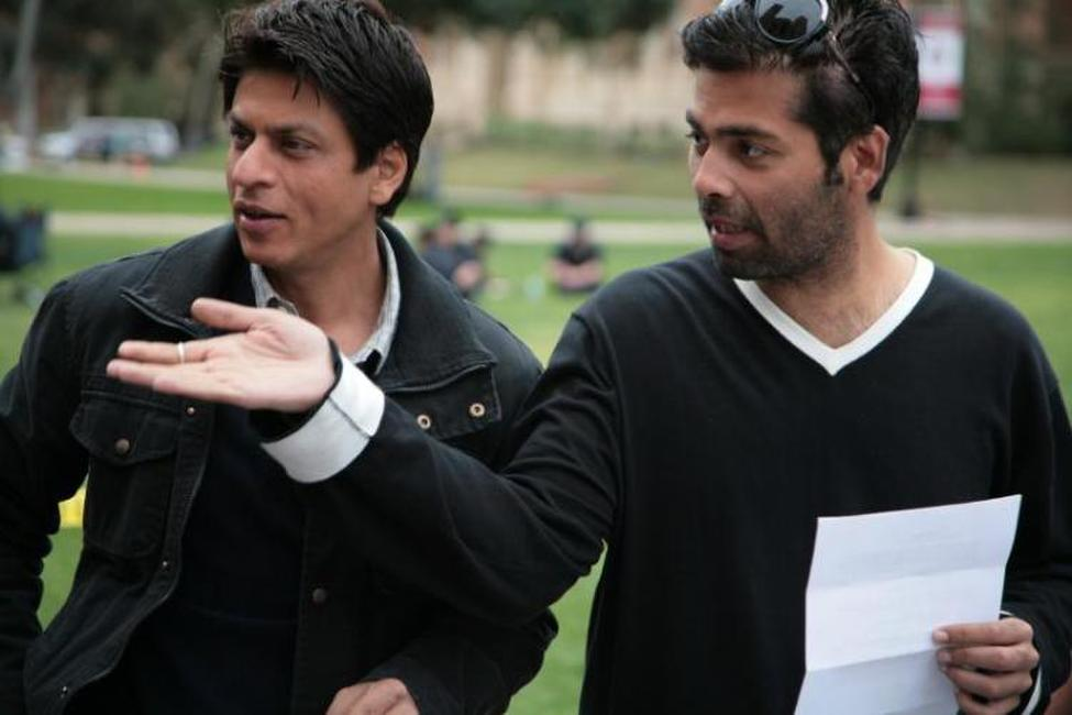 Shah Rukh Khan and director Karan Johar on the set of