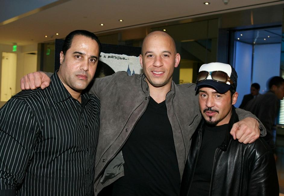 Valentino Morales, Vin Diesel and Joey Dedio at the DVD release party of