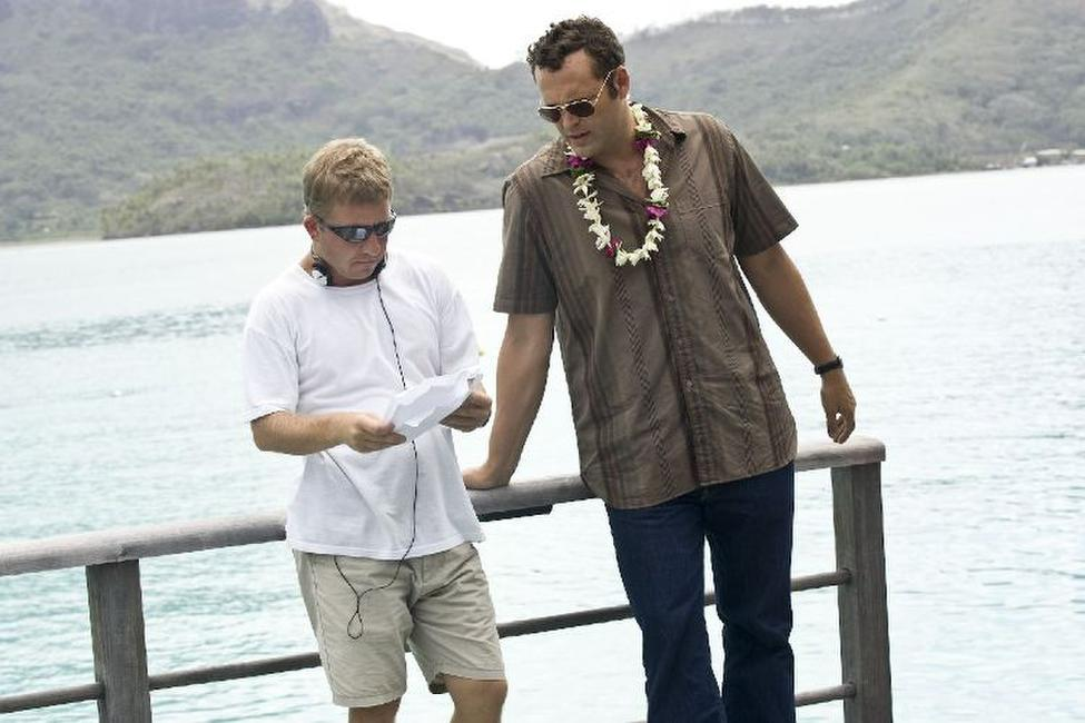 Director Peter Billingsley and Vince Vaughn on the set of