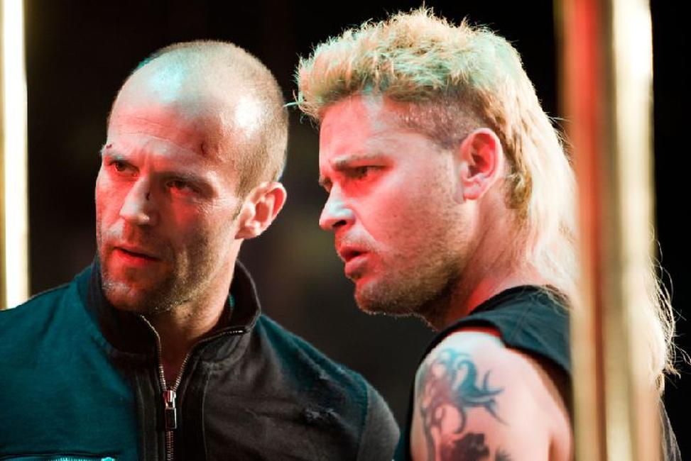 Jason Statham as Chev Chelios and Corey Haim as Randy in