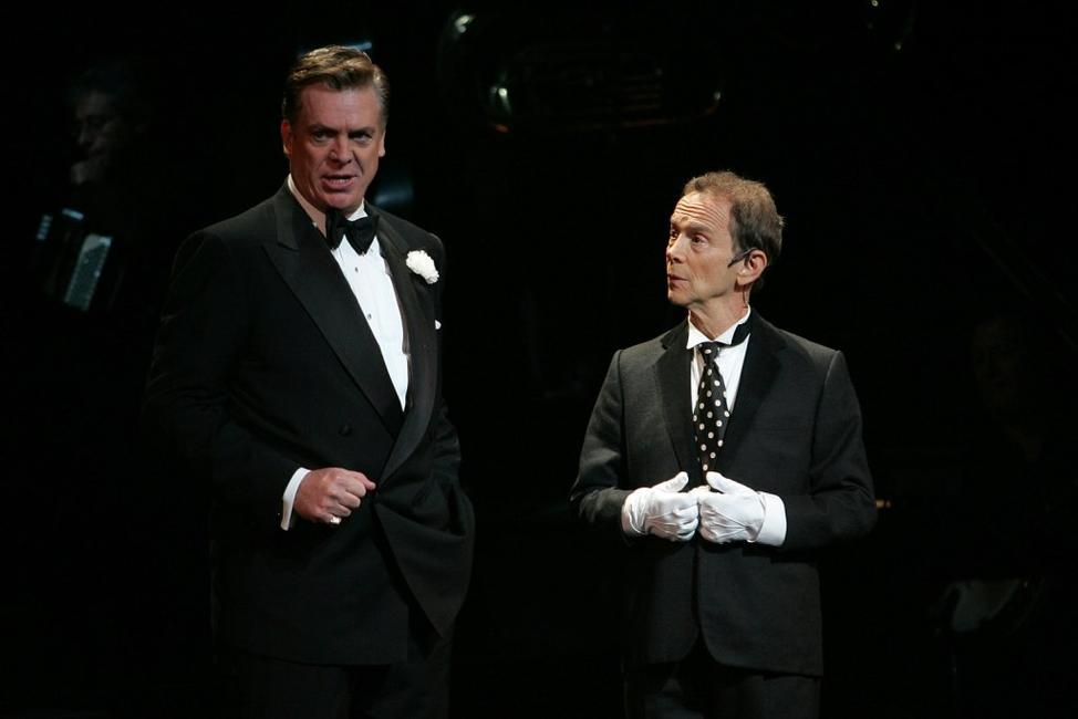 Joel Grey and Christopher McDonald at the dress rehearsal for the 10th Anniversary of Broadway's Chicago.