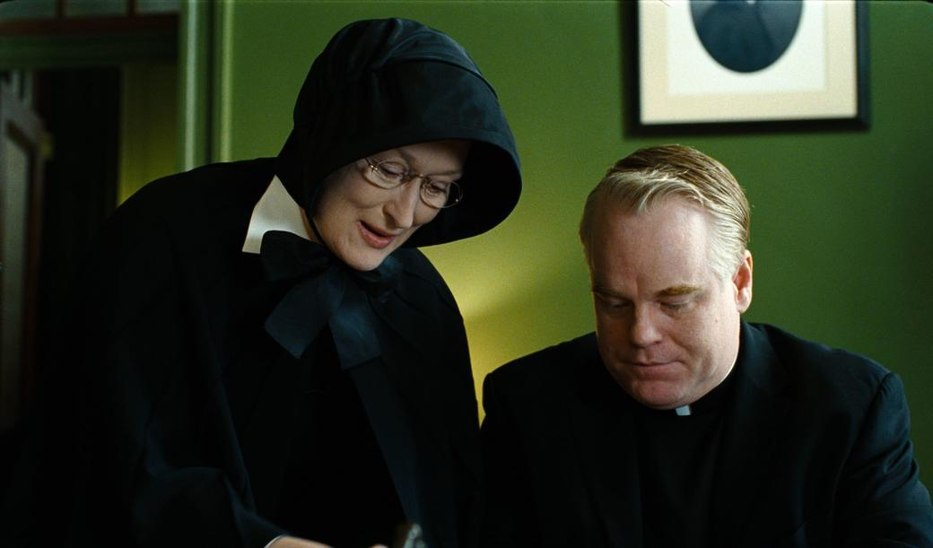 Meryl Streep as Sister Aloysius and Philip Seymour Hoffman as Father Flynn in