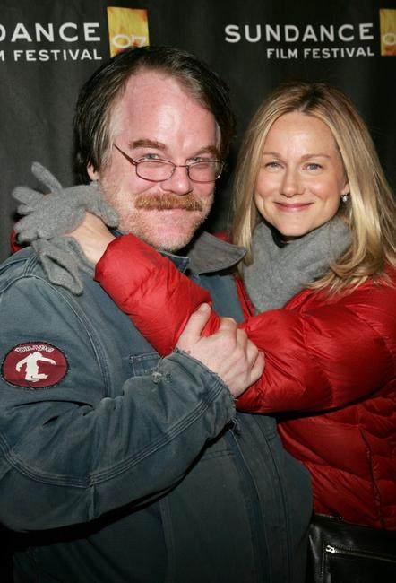 Philip Seymour Hoffman and Laura Linney at the premiere of