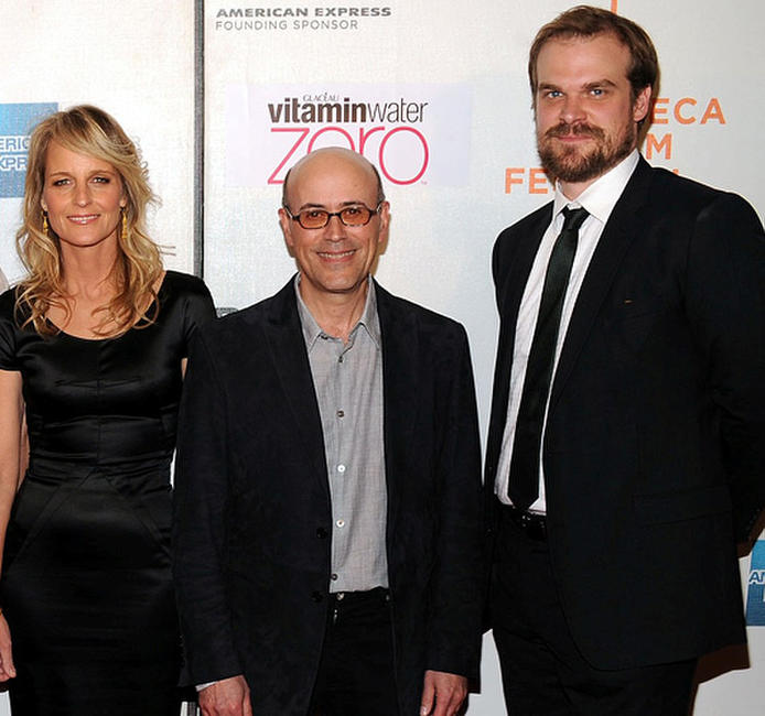Helen Hunt, director Richard Levine and David Harbour at the New York premiere of