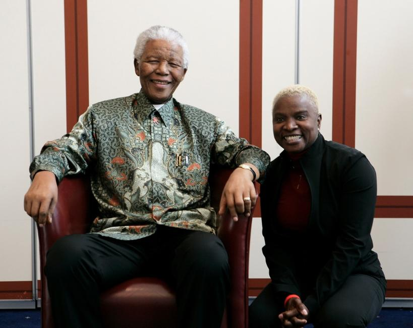 Nelson Mandela and Angelique Kidjo at the