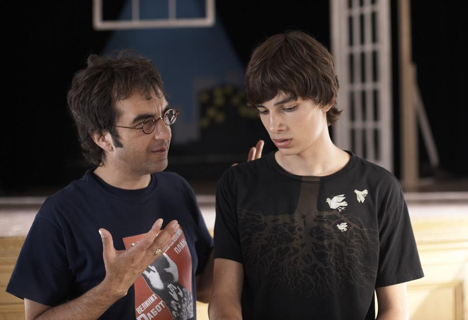 Director Atom Egoyan and Devon Bostick on the set of
