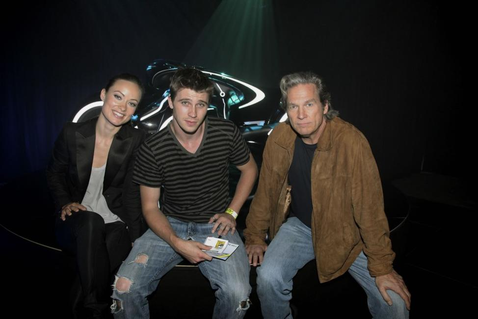 Olivia Wilde, Garrett Hedlund and Jeff Bridges at the Tron Legacy Flynn's Arcade.