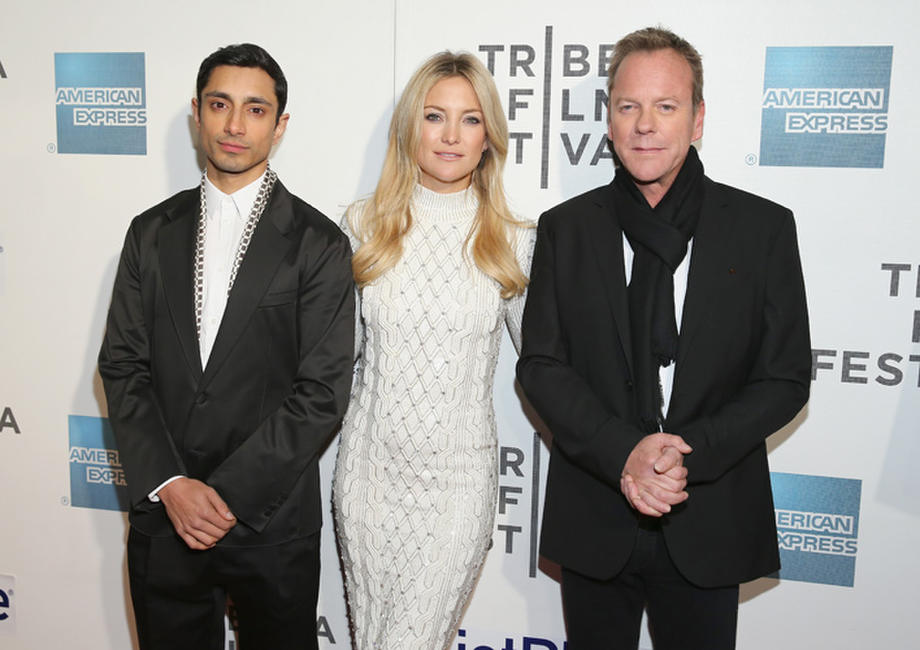 Rizwan Ahmed, Kate Hudson and Kiefer Sutherland at the New York premiere of
