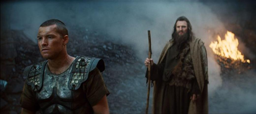 Sam Worthington as Perseus and Liam Neeson as Zeus in