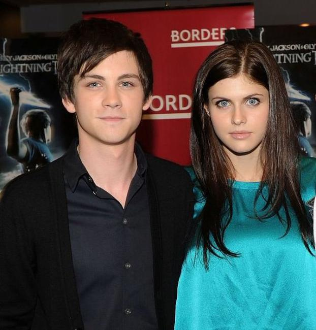 Logan Lerman and Alexandra Daddario at the promotion of