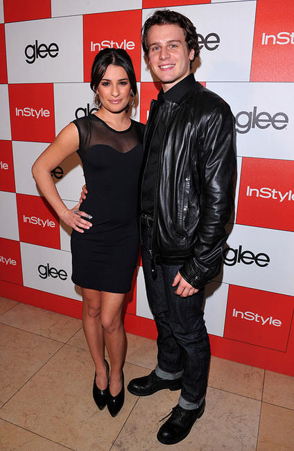 Lea Michele and Jonathan Groff at the InStyle and 20th Century Fox's party celebrating Glee's 4 Golden Globe.
