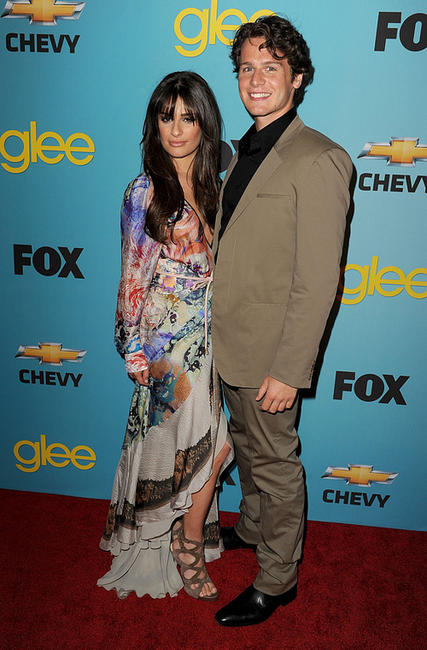 Lea Michele and Jonathan Groff at the California premiere of