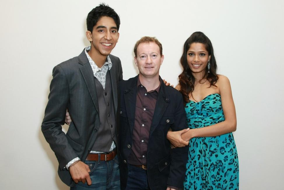 Dev Patel, Freida Pinto and writer Simon Beaufoy at the 2008 Tribeca cinema series.