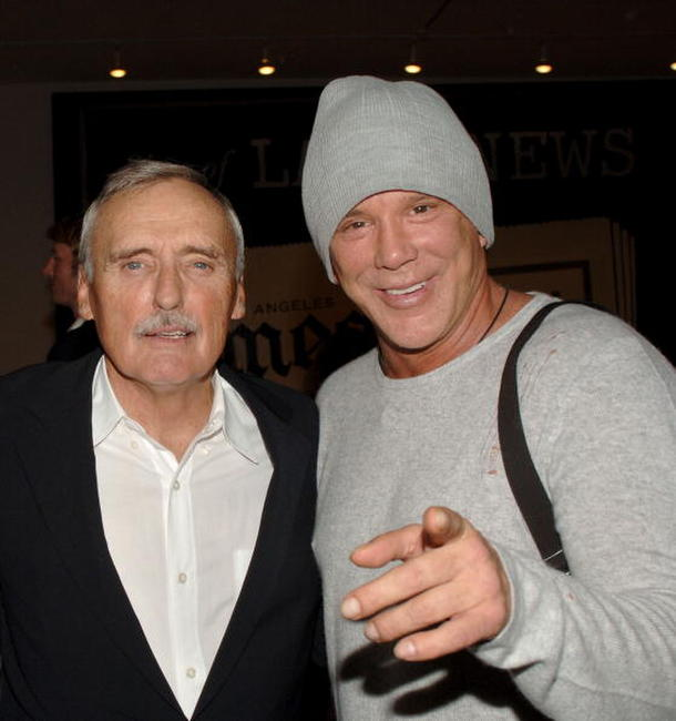 Mickey Rourke and Dennis Hopper at the private opening of Dennis Hopper's
