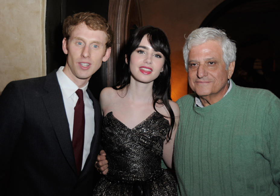 Robert Emms, Lily Collins and Michael Lerner at the after party of the California premiere of