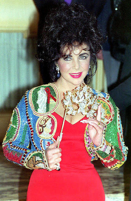 Elizabeth Taylor at the fine jewelry auction to benefit the American Foundation for AIDS Research.