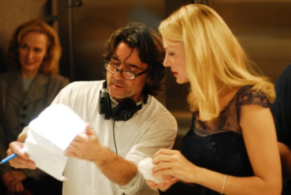 Director Griffin Dunne and Uma Thurman on the set of