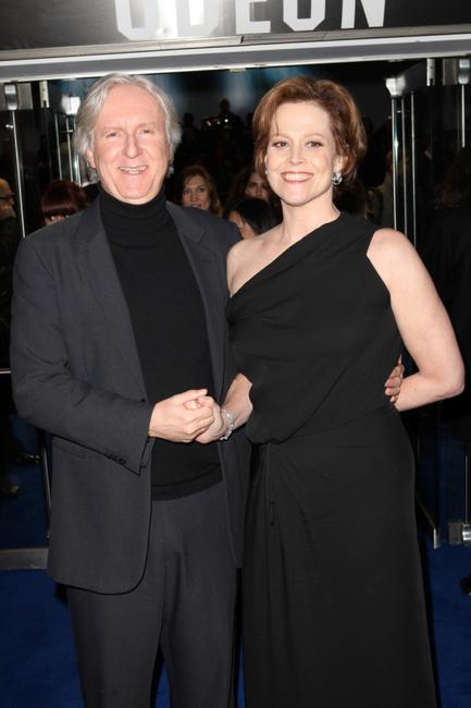 James Cameron and Sigourney Weaver at the London premiere of