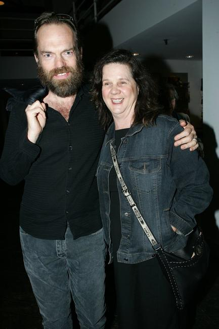 Hugo Weaving and friend at the opening night of