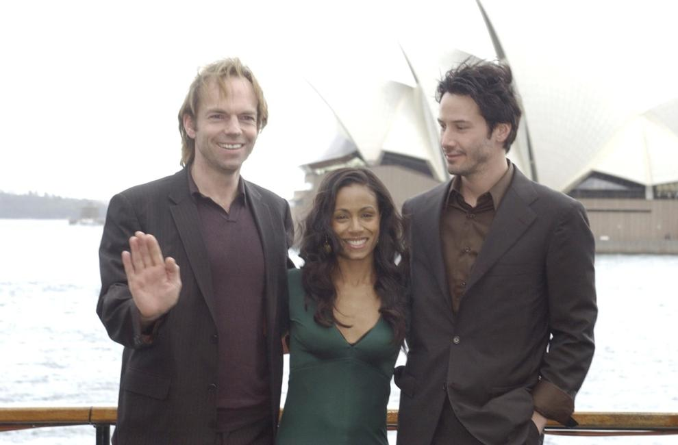 Hugo Weaving, Jada Pinkett Smith and Keanu Reeves at the photo call of
