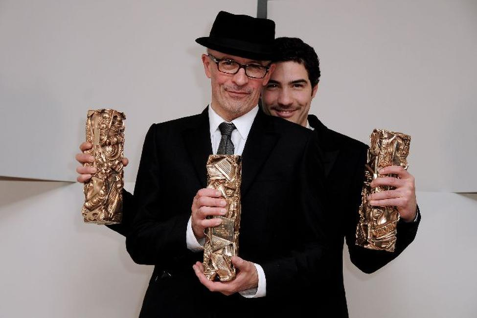 Jacques Audiard and Tahar Rahim at the 35th Cesar Film Awards 2010.