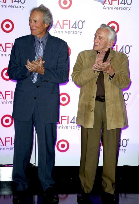 Kirk Douglas and Clint Eastwood at AFI's 40th Anniversary Celebration Lunch.