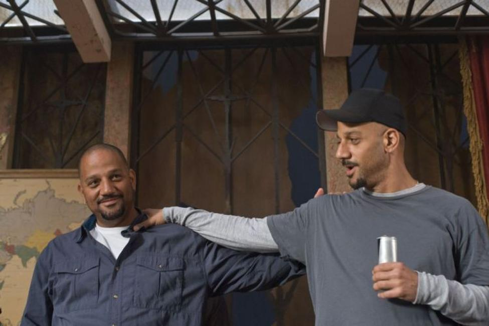 Allen Hughes and Albert Hughes on the set of